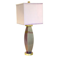 Lilac Lizzy  Lamp with Square shade in Orchid silk has ripple and  Tigress paint finish in mauve and deep opal