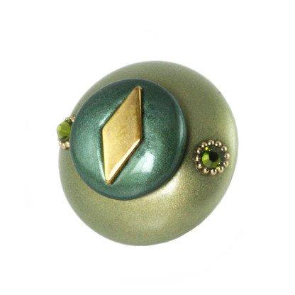 Mini Style #2 Knob Jade and Emerald  2 Inches Diameter with gold metal details and Swarovski olivine crystals.