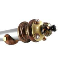 """Jumbo Finial Grand Tiki drapery hardware set with painted rod 2"""" diameter"""
