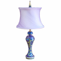 Petunia Lamp with drum shade in silk orchid and  lapis blue, periwinkle and citrine green paint finish