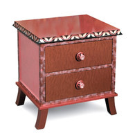 Rumba 2 end table night stand has agate, ruby, and pink paint finish
