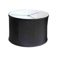 lamp shade shallow drum in silk black