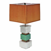Cubee table lamp in emerald paint finish and pickled oak with soft rectangular box shade in dupioni silk pecan