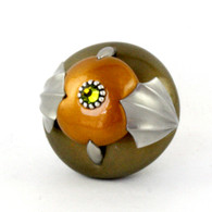 cleo knob bronze deep gold  2 in. diameter with silver metal details and olivine crystal