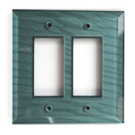 Glass Double Decora Switch Cover Aqua