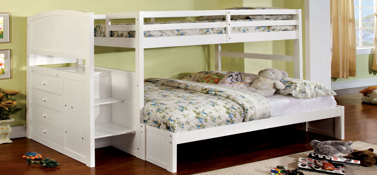 white bunk bed with stairs Orange County