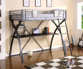 Metal Chrome Twin Workstation Loft Bed