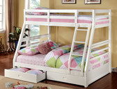 White Wood Twin Over Full Bunk Bed with Drawers
