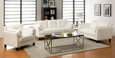 White Leatherette Living Room Set