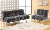 Gray Fabric Futon Sofa Bed Set