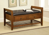 Oak Leatherette Storage Bench