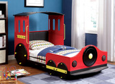 Red Retro Express Train Twin Bed