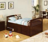 Dark Walnut Full Platform bed with Drawers