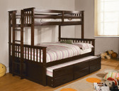 Dark Walnut Twin Full Bunk Bed with Trundle
