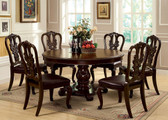 Brown Cherry Round Dining Table Set