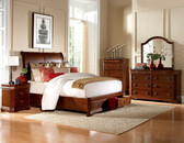 Queen Brown Cherry Traditional Platform Bed