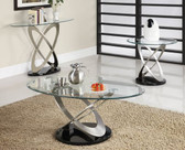 Oval Glass Chrome Coffee Table Set