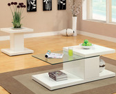 Calero Contemporary Glass White Coffee Table