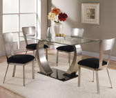 Brushed Silver Glass Dining Table Set