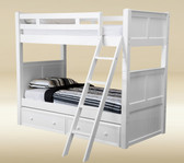 White Wood Twin Over Twin Bunk Bed