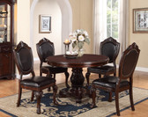 "48"" Round Cherry Dining Table Set Poundex F2187"