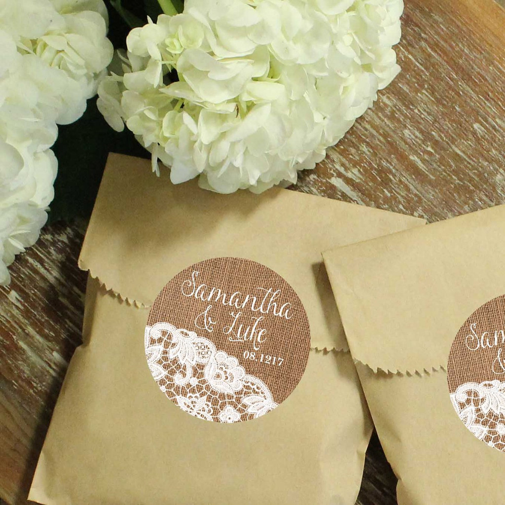 Paper Favor Bags - Round Burlap and Lace Label