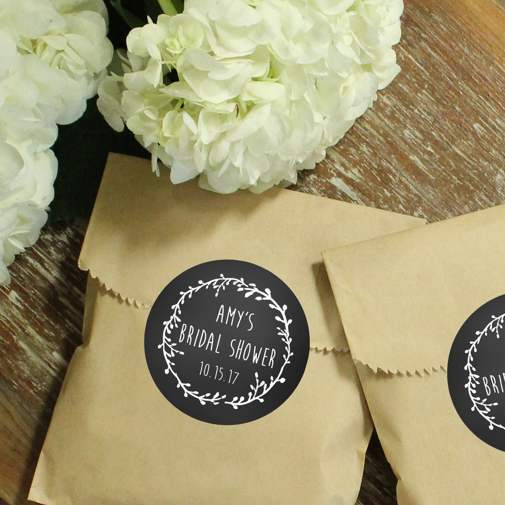 Paper Favor Bags - Round Laurel Chalkboard Label