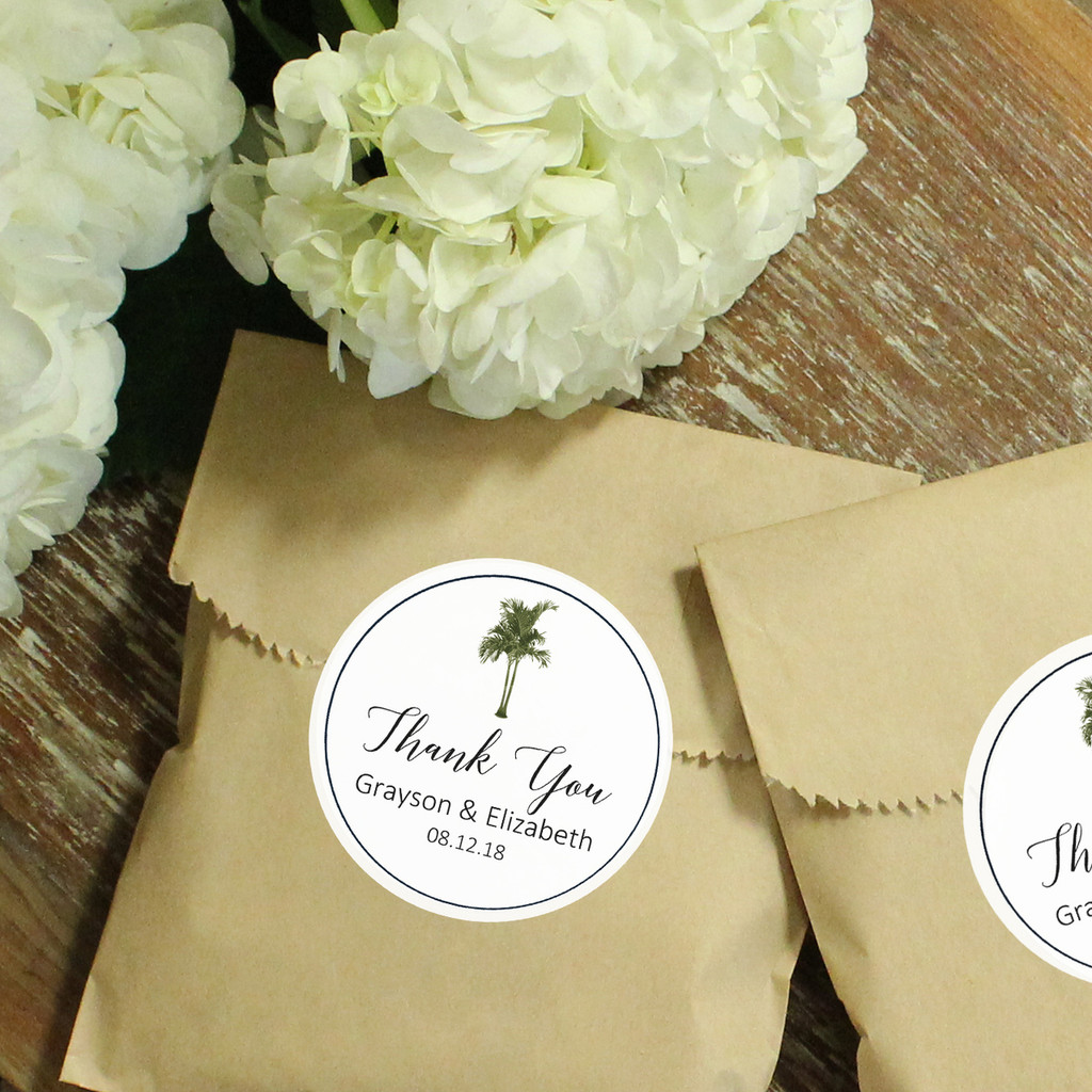 Vintage Palm Tree Kraft Favor Bags with Labels