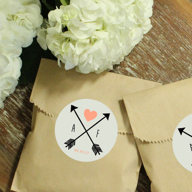 Paper Favor Bags - Round Arrow Label