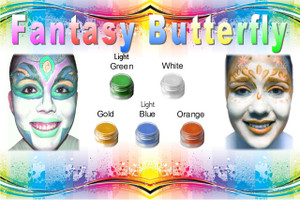 "Set of 10 x 8pc Natural Face Paint ""Fantasy Butterfly"" Halloween Costume Makeup Kit"