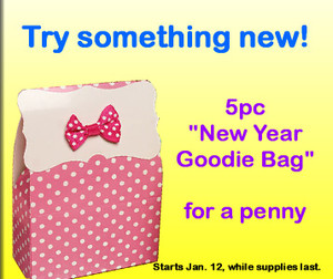 "5pc ""NEW YEAR Goodie Bag Set"" for  just .01 Penny ($20.00 value, 1 per customer)"