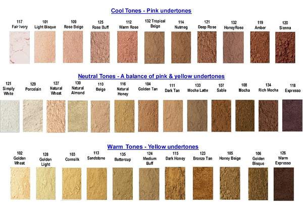 Mineral Foundation Color chart is grouped by tone starting from lightest to darkest. 35 shades to choose from,