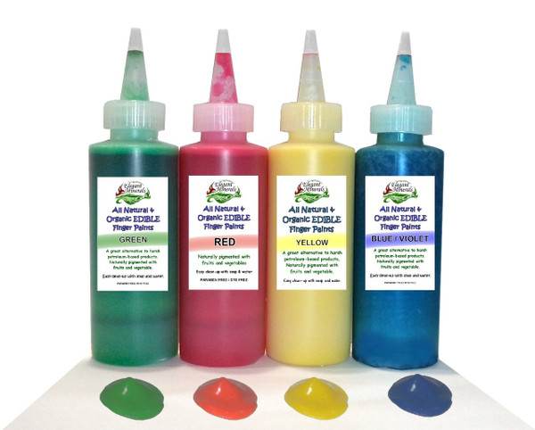 All Natural & Organic non-GMO EDIBLE Finger Painting Kit for Baby & Children DYE-Free