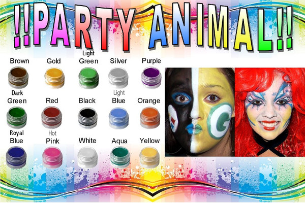 "Set of 10 x 18pc Natural ""Party Animal!"" Face Paint Dye-free, PARABEN-free Costume Makeup Kit"