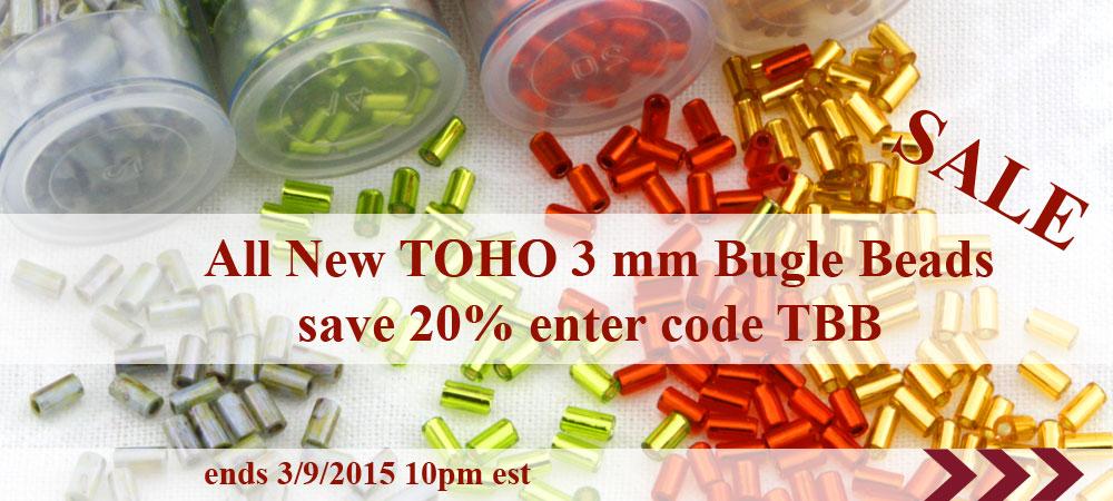 20% sale on 3 mm Toho Bugle Beads