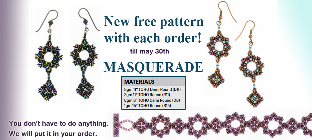 Free Masquerade Beading Pattern for Demi Beads