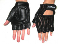 GL0XX- Push Gloves, Leather Padded  1/2 Fingers 1/2 Thumb