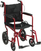 "Drive Lightweight Expedition Aluminum Transport Chair With 12"" Rear ""Flat-Free"" Wheels FREE SHIPPING"