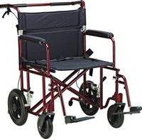 "Drive 22"" Bariatric Aluminum Transport Chair With 12"" Rear ""Flat-Free"" Wheels FREE SHIPPING"