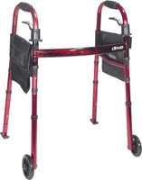"""Drive Deluxe Folding Travel Walker with 5"""" Wheels and Fold-Up Legs"""
