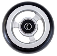 "CW501 3"" X 1"" Aluminum 3 Spoke Wheel / Soft Urethane Tire with 5/16"" bearings. Sold as Pair"