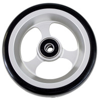 "RW504 4"" X 1 1/2"" Aluminum 3 Spoke wheel with Soft Urethane Tire. Comes with 5/16"" bearings. Sold as Pair"