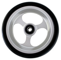 """CW506 5"""" X 1 1/2"""" Aluminum 3 Spoke Wheel / Soft Urethane Tire with 5/16"""" bearings. Sold as Pair"""