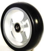 "CW506 5"" X 1 1/2"" Aluminum 3 Spoke Wheel / Soft Urethane Tire with 5/16"" bearings. Sold as Pair"
