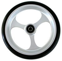 "RW507 6"" X 1"" Aluminum 3 Spoke wheel / Soft Urethane Tire with 5/16"" bearings. Sold as Pair"