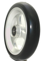 "CW508 6"" X 1 1/2"" Aluminum 3 Spoke Wheel / Soft Urethane Tire with 5/16"" bearings. Sold as Pair"