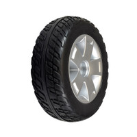 REAR Wheel Assembly with Black Flat-Free Tire for Pride Victory 10, Victory ES 10, & Victory Sport. Sold as EACH