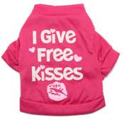 Pink I Give Free Kisses Dog T-Shirt