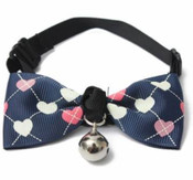 Blue Heart Design Dog Bow Tie with Bell