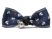 Blue Anchor Design Dog Bow Tie with Bell